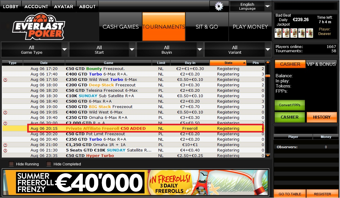 casino org freeroll